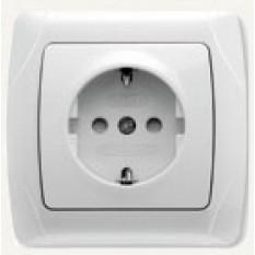 90561042 Розетка с заземлением и защитными шторками Vi-ko (Carmen) белая