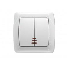 90561050 Выключатель двухклавишный с подсветкой Vi-ko (Carmen) белый