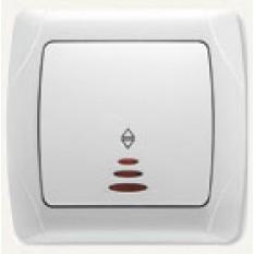 90561063 Выключатель одноклавишный проходной с подсветкой Vi-ko (Carmen) белый