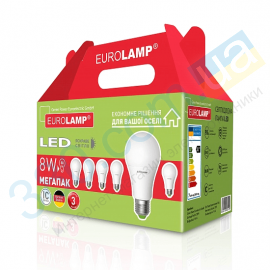 Светодиодная лампа A60 8W E27 4000K 6шт. EUROLAMP MLP-LED-A60-08274(6)